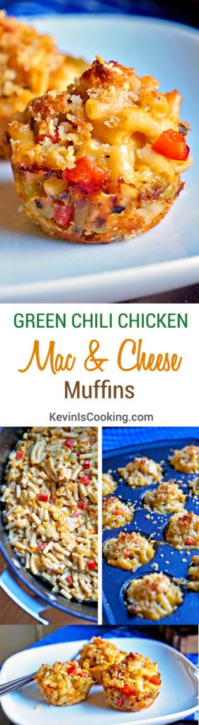 Mac and Cheese Muffins - mixed with a green chili chicken mixture with red peppers all covered with a crunchy breadcrumb and parmesan cheese topping.