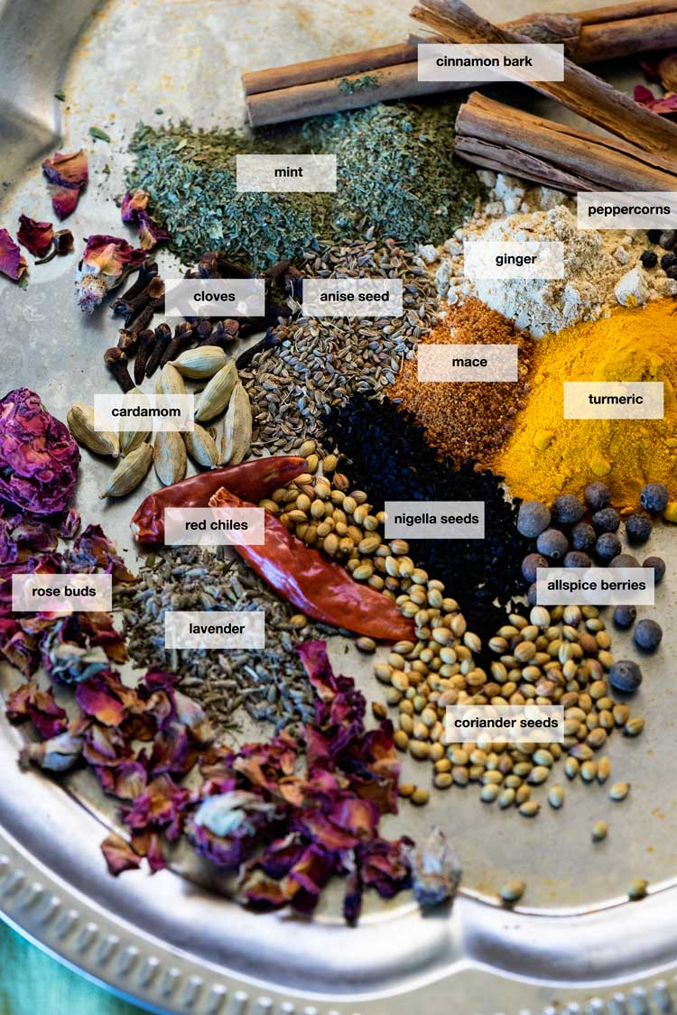 all ingredients for Ras el Hanout Spice Blend.