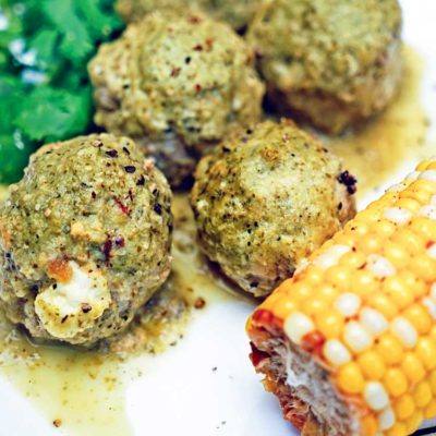 Stuffed Green Chili Meatballs in Tomatillo Sauce