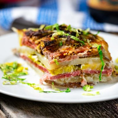 Corned Beef Potato Gratin with Brussels Sprouts