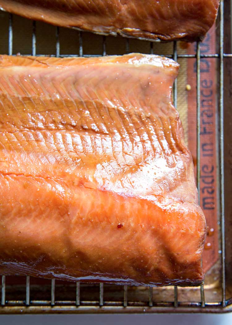 tacky surface of a brined and dried salmon sowing a pellicle surface