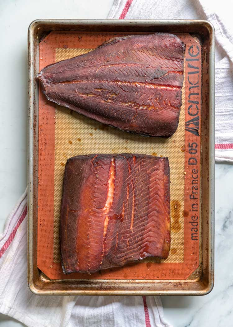 brined salmon right out of the smoker