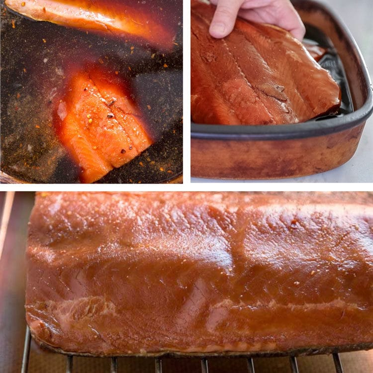 step photos of brining a salmon