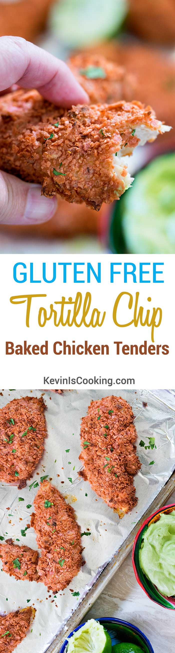 Gluten Free Tortilla Chip Baked Chicken Tenders with Avocado Sauce. www.keviniscooking.com