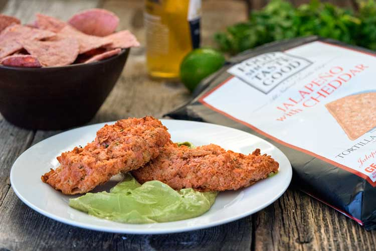 Gluten Free Tortilla Chip Baked Chicken Tenders. www.keviniscooking.com