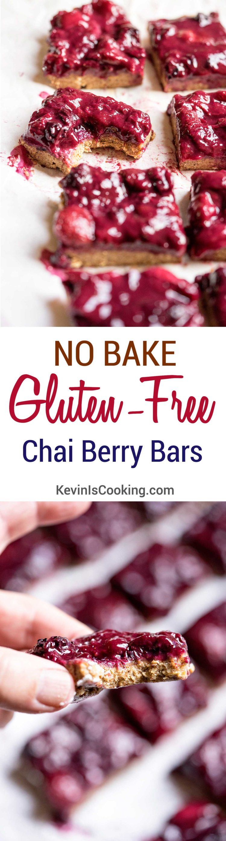 These easy to make No Bake Gluten Free Chai Berry Bars are made with healthy almonds and oats and kissed with a chai spice to accent Spring's fresh berries.