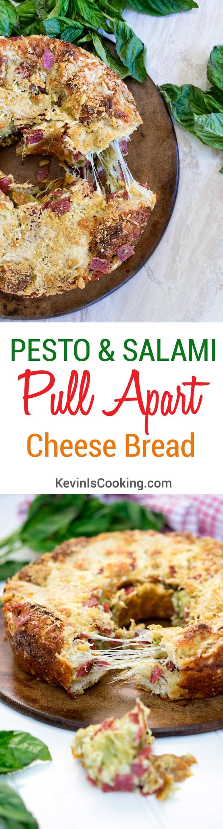 Pesto Salami Pull Apart Cheese Bread. www.keviniscooking.com