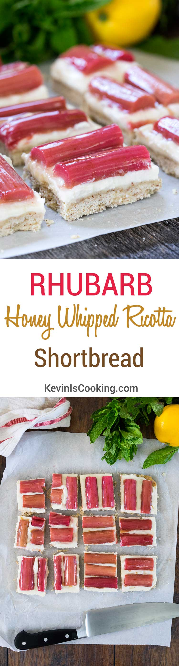 """""""Rhubarb and Honey Whipped Ricotta Shortbread. www.keviniscooking.com"""