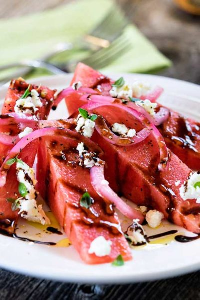 Chilled Watermelon Salad with Goat Cheese and Pickled Onions