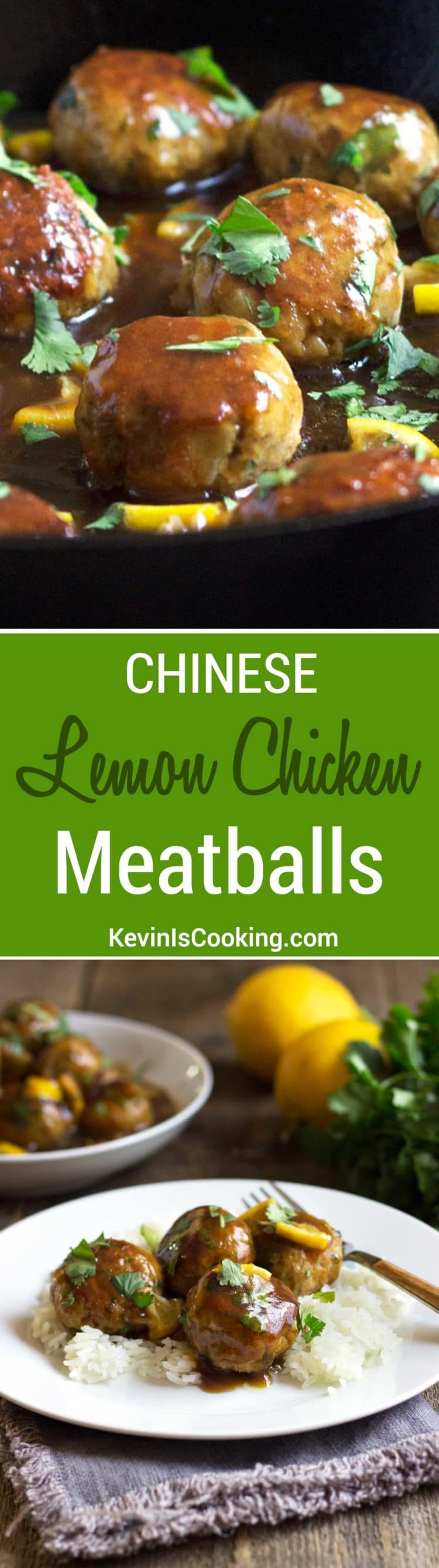 These Lemon Chicken Meatballs get a surprising crunch from water chestnuts, Asian spices and are simmered in a beautiful lemon and cilantro sauce.