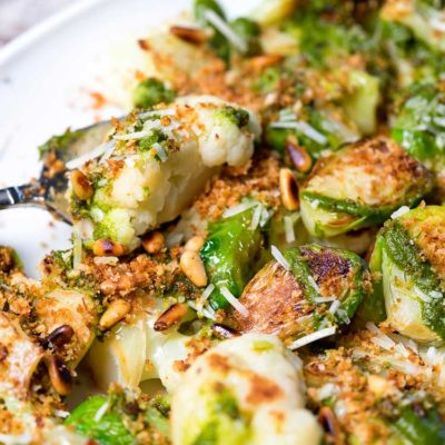 Pan Roasted Cauliflower and Brussels Sprouts with Chimichurri