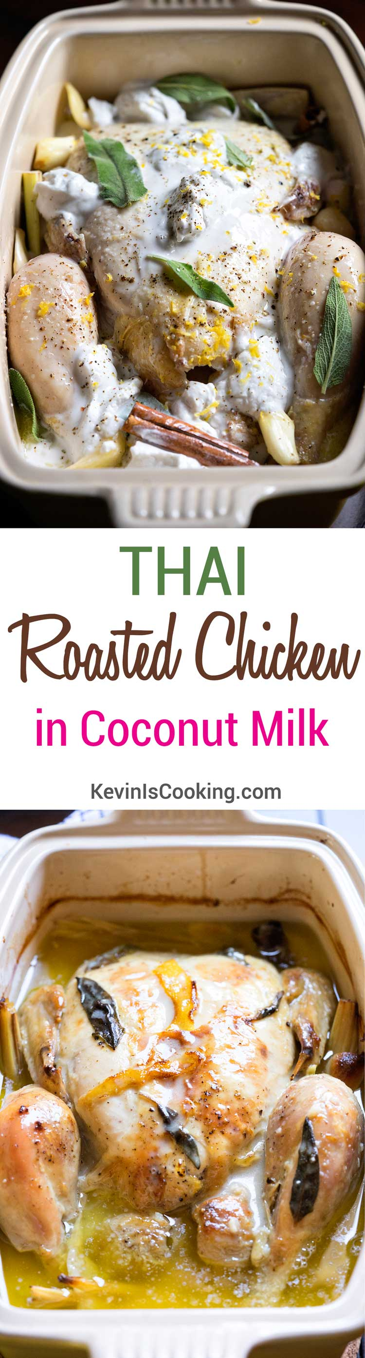 I didn't have any milk on hand for Jamie Oliver's Chicken in Milk, but I did have some coconut milk. This Thai Roasted Chicken in Coconut Milk happened.