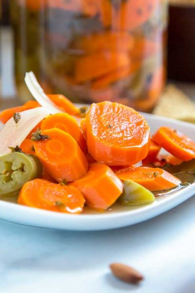These Authentic Mexican Pickled Carrots are a great make-it-at-home version that are just like the ones you get at Mexican restaurants and so easy to make!