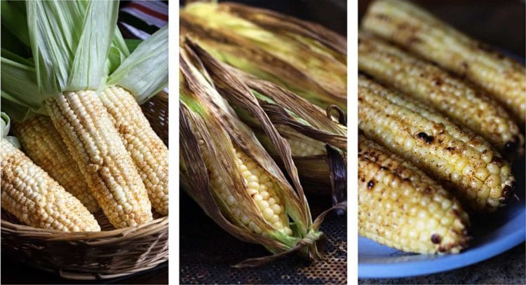3 stages of grilling corn