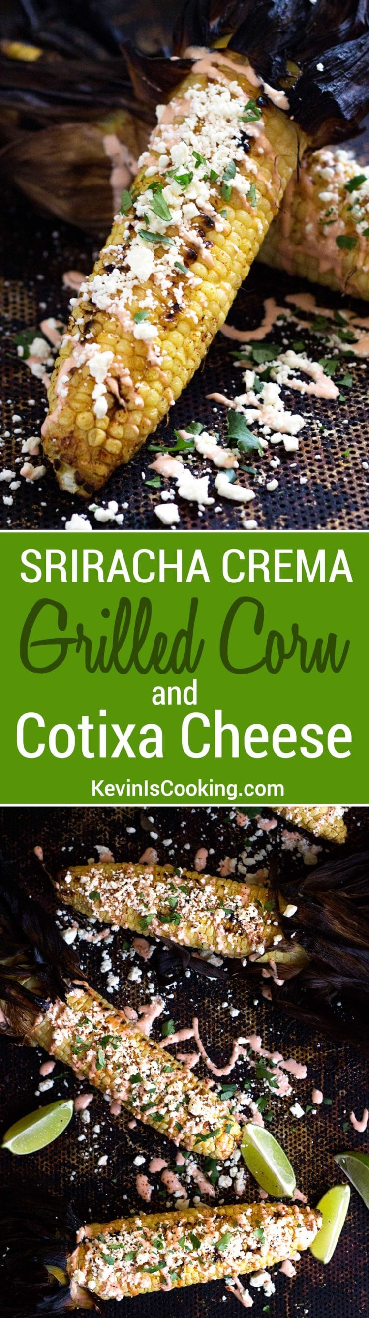 Grilled Corn with Cotija and Sriracha Crema. My family and friends go crazy when we serve this Mexican Grilled Corn for grilling BBQ parties. Hand held, spicy, and covered with cheese crumbles, this corn is the best!