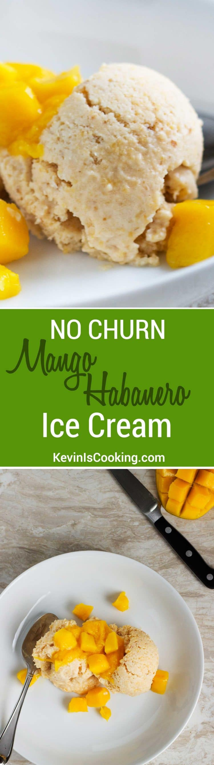 I kid you not this no churn mango ice cream has habanero sauce in it and it is amazing! We can't stop eating it. Not hot like you'd think, amazing!