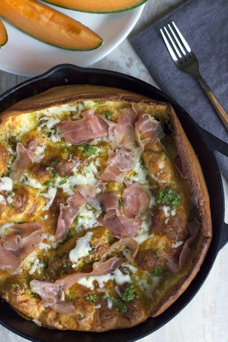 Pesto Prosciutto Dutch Baby. www.keviniscooking.com
