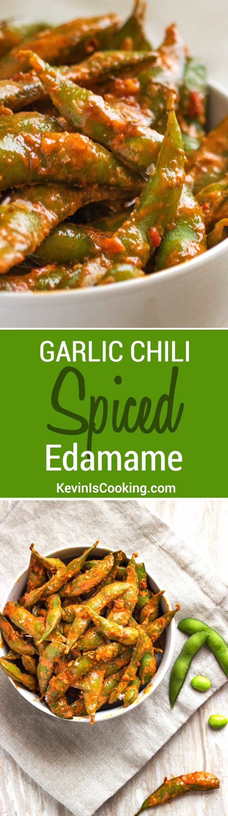 Garlic Chili Spicy Edamame are an easy to prepare snack that can be on the table in 10 minutes. Made with a wonderful creamy garlic and chili paste sauce!