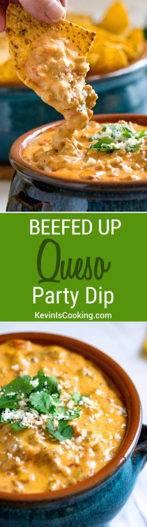 This is a super easy and beefed up Queso Dip perfect for any party, on top of french fries, baked potatoes or steamed vegetables. We can't stop dipping!