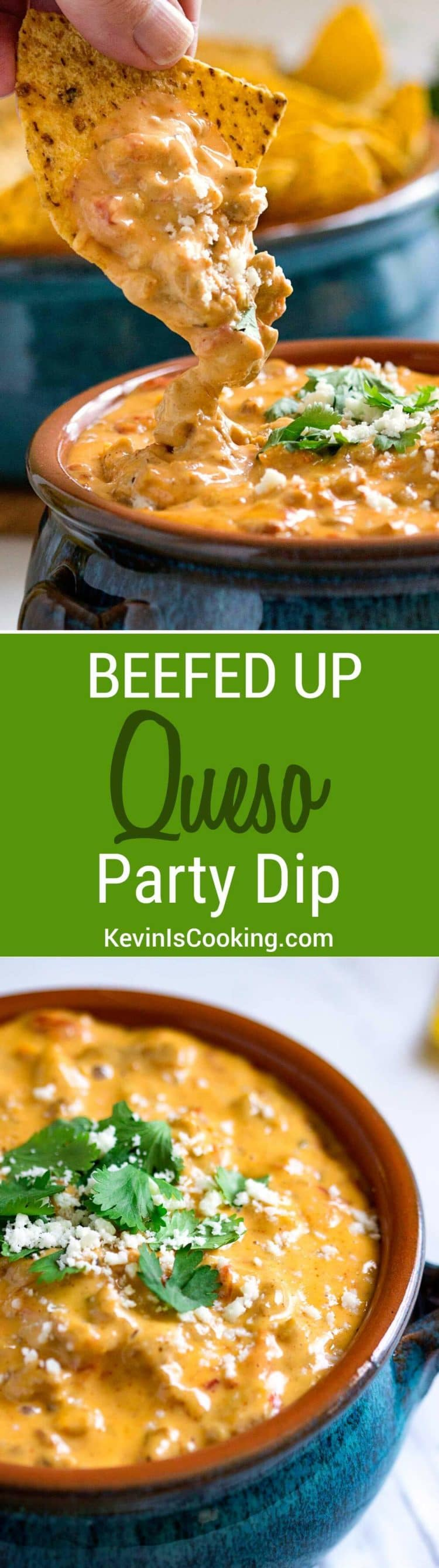 This is a super easy and beefed up Beef Queso Dip perfect for any party, on top of french fries, baked potatoes or steamed vegetables. We can't stop dipping!