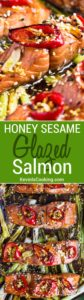 This tasty Broiled Salmon with Honey Sesame Glaze gets marinaded for 30 and broiled in 2 minutes. Can't get any easier and the family loves it!