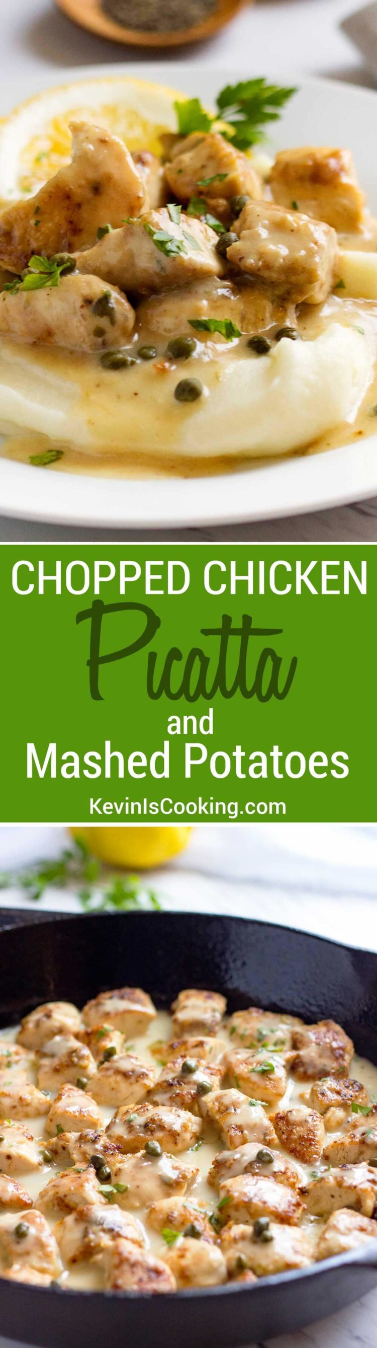 Chopped Chicken Piccata - This house favorite uses chopped chicken that gets browned, drenched in a easy, lemony caper pan sauce and tops mashed potatoes for a perfect comfort dinner.