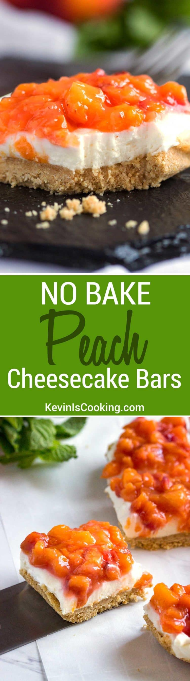 Fresh peaches top this amazingly fluffy no bake cheesecake bar with a ground oat an graham cracker base. So good! Double this, they go quick every time.
