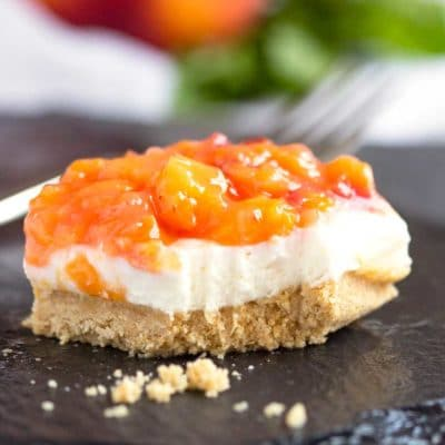 No Bake Peach Cheesecake Bars