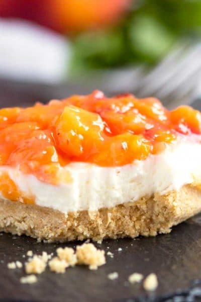 No Bake Peach Cheesecake Bars