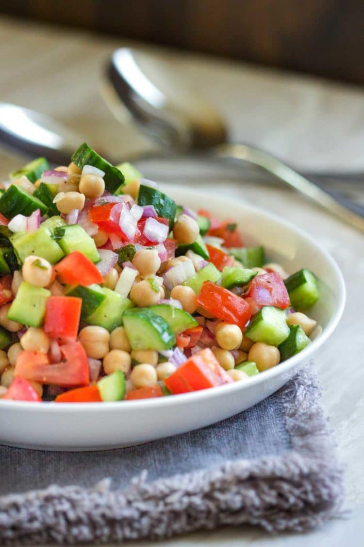 Shirazi Salad with Chickpeas - Kevin Is Cooking