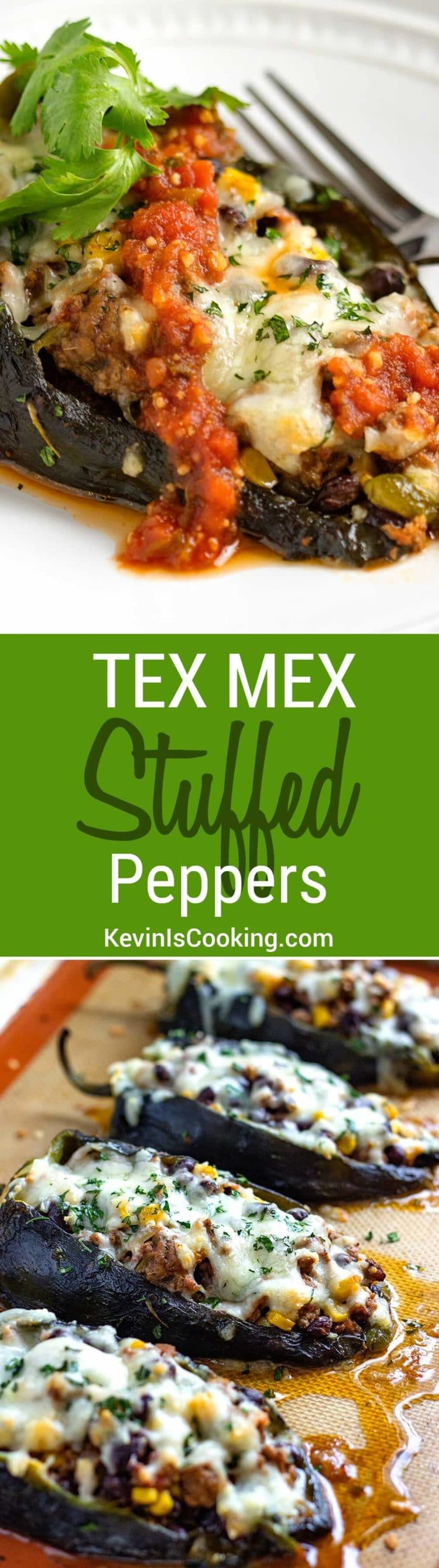 These Tex Mex Stuffed Peppers are a house favorite. Filled with ground beef, black beans, corn, and pepper jack cheese! So good, great for large crowds, too.