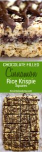 These Cinnamon Rice Krispie Squares are ridiculously delicious and addictive. 2 layers of Rice Krispie treats with melted chocolate inside and on top!. A HUGE hit!