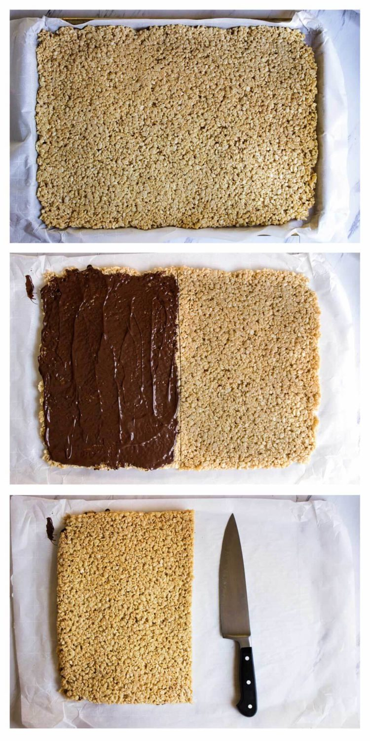 These Chocolate Cinnamon Rice Krispie Squares are ridiculously delicious and addictive. 2 layers of Rice Krispie treats with melted chocolate inside and on top! www.keviniscooking.com