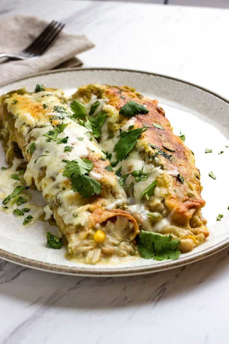 Green Chile Chicken Enchiladas - Kevin Is Cooking