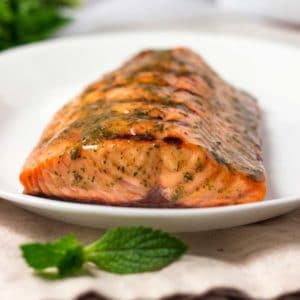 A plate of Honey and Mustard grilled salmon