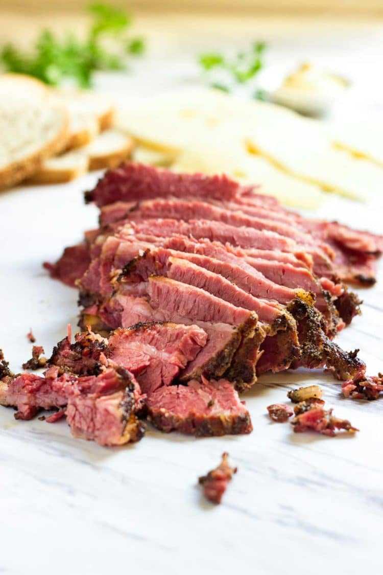 sliced homemade pastrami
