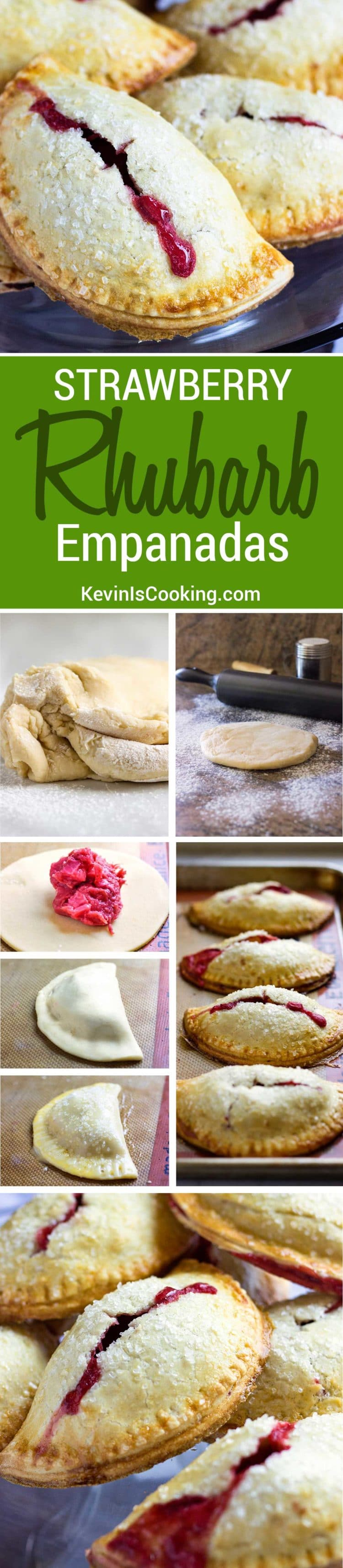 These Rhubarb Baked Empanadas are baked, not fried and the lightly sweet, flakey dough is just perfect to hold the chopped rhubarb and strawberries. Perfect for the kids and picnics.