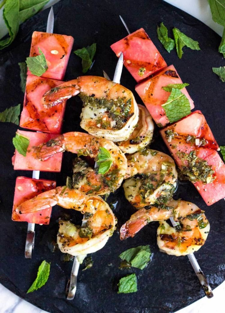 These super easy to make Watermelon and Grilled Shrimp Skewers are quick on the grill and on the plate in minutes. The watermelon rocks, so good! www.keviniscooking