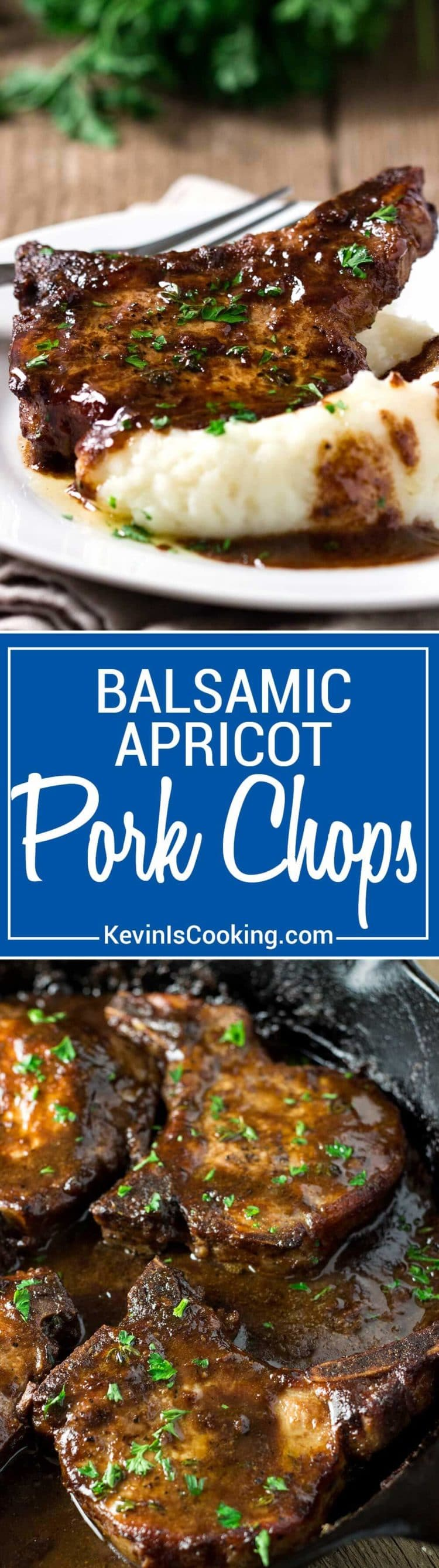 Super easy, super tasty, these Balsamic Apricot Pork Chops are on the table in minutes. A quick pan sauce with balsamic, Dijon and apricot jam... so good.