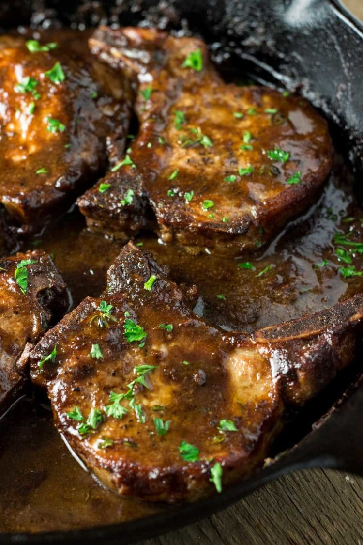 Super easy, super tasty, these Balsamic Apricot Pork Chops are on the table in minutes. Everyone loves these! www.keviniscooking.com