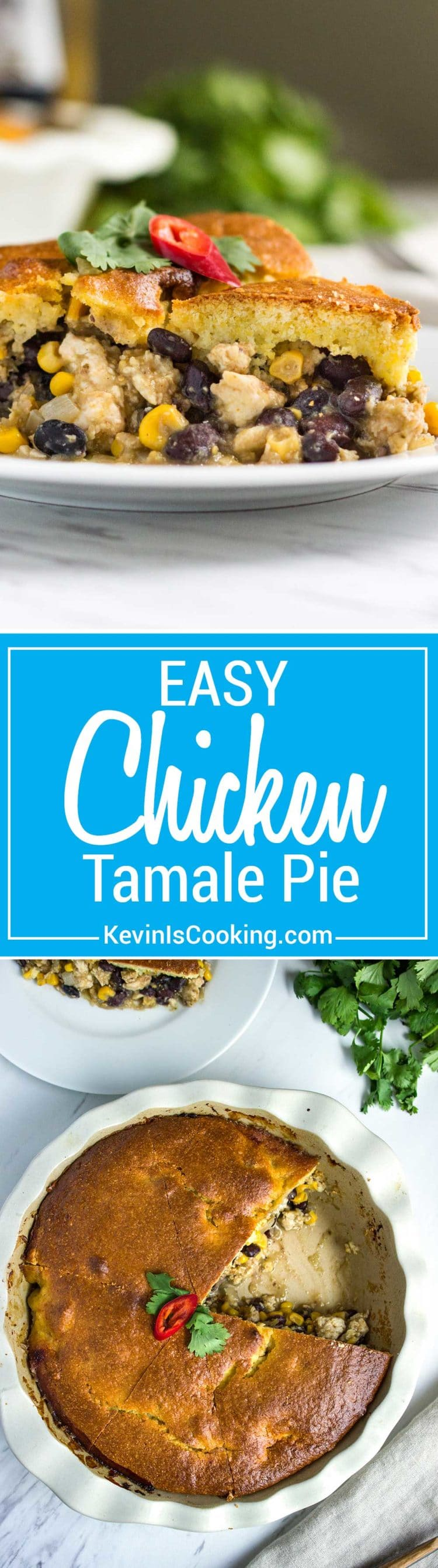 Easy Chicken Tamale Pie - made from ground chicken, spices, corn and beans all topped with a cornbread batter that's baked and ready in minutes.