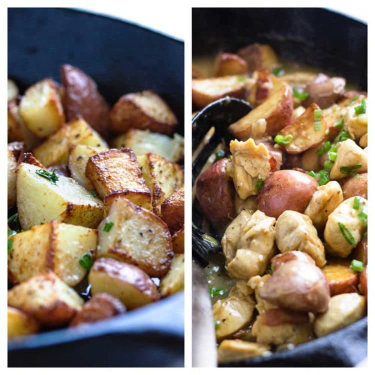German Fried Potatoes with Chicken - A twist to the traditional German fried potato, this dish mixes a tangy sauce, rotisserie chicken and bacon for a quick and delicious dinner in minutes. www.keviniscooking.com