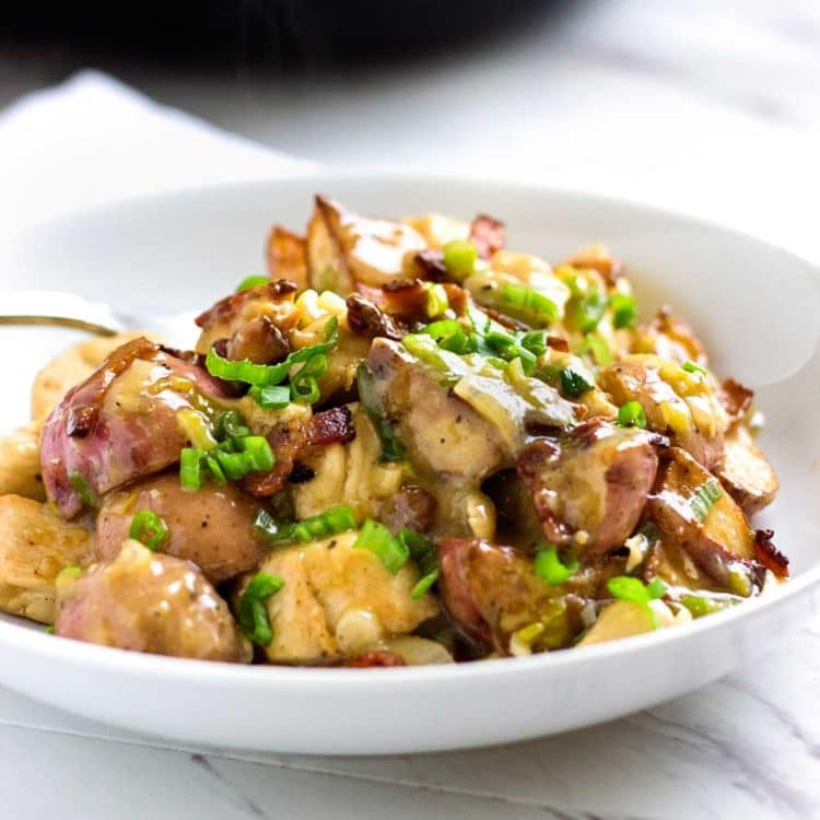 A twist to the traditional German fried potato, this dish mixes a tangy sauce, rotisserie chicken and bacon for a quick and delicious dinner in minutes. www.keviniscooking.com