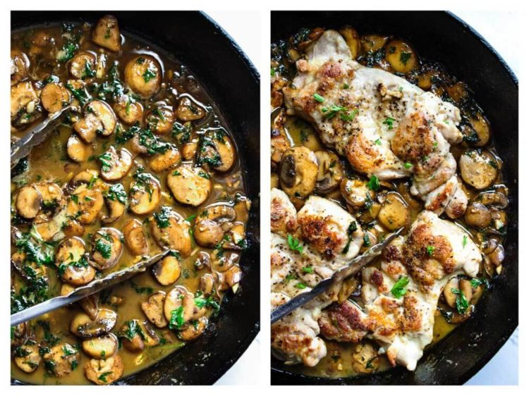 This Quick Pan Seared Chicken with Mushrooms is smothered in a luscious, lemony mushroom pan sauce and on the table in 30 minutes. I serve with steamed vegetables and it's so good! Family loves it. www.keviniscooking.com