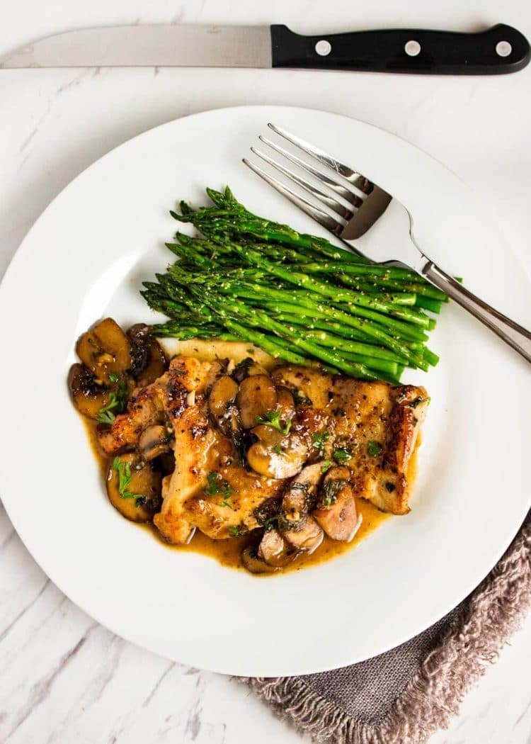 This Quick Pan Seared Chicken is smothered in a luscious, lemony mushroom pan sauce and on the table in 30 minutes. I serve with steamThis Quick Pan Seared Chicken with Mushrooms is smothered in a luscious, lemony mushroom pan sauce and on the table in 30 minutes. I serve with steamed vegetables and it's so good! Family loves it. www.keviniscooking.com