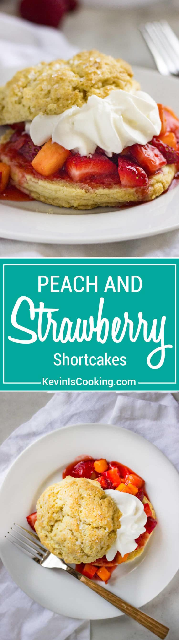 Peach and Strawberry Shortcake is the perfect dessert to end a Summer family dinner. Fresh fruit, light and crumbly shortcake all topped with whipped cream… a sure hit every time!