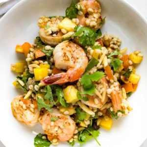 What's great about this Pineapple Shrimp Barley Salad is it's fresh, healthy and fills you up without fattening you up! A tasty go-to lunch or dinner. www.keviniscooking.com