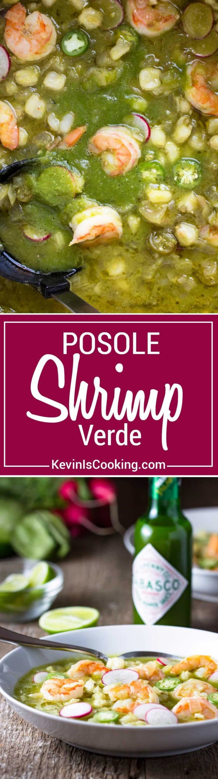 This Shrimp Posole Verde starts with a traditional, hearty Mexican soup that eats like a stew, and includes hominy, chiles and substitutes shrimp for pork.