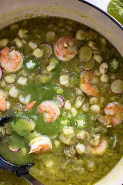 overhead: bowl of mexican shrimp soup