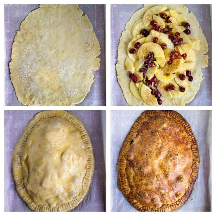 Buttery, flakey pastry dough is free formed on a baking sheet and topped with fresh cranberries, apples, lemon zest and covered to bake to a golden brown. Slide on a citing board and cut for guests. www.keviniscooking.com